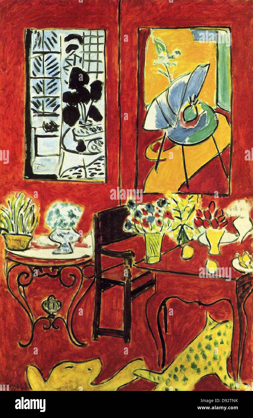 Henri Matisse Grand Intérieur rouge 1948 Centre Georges Pompidou - Paris Stockbild