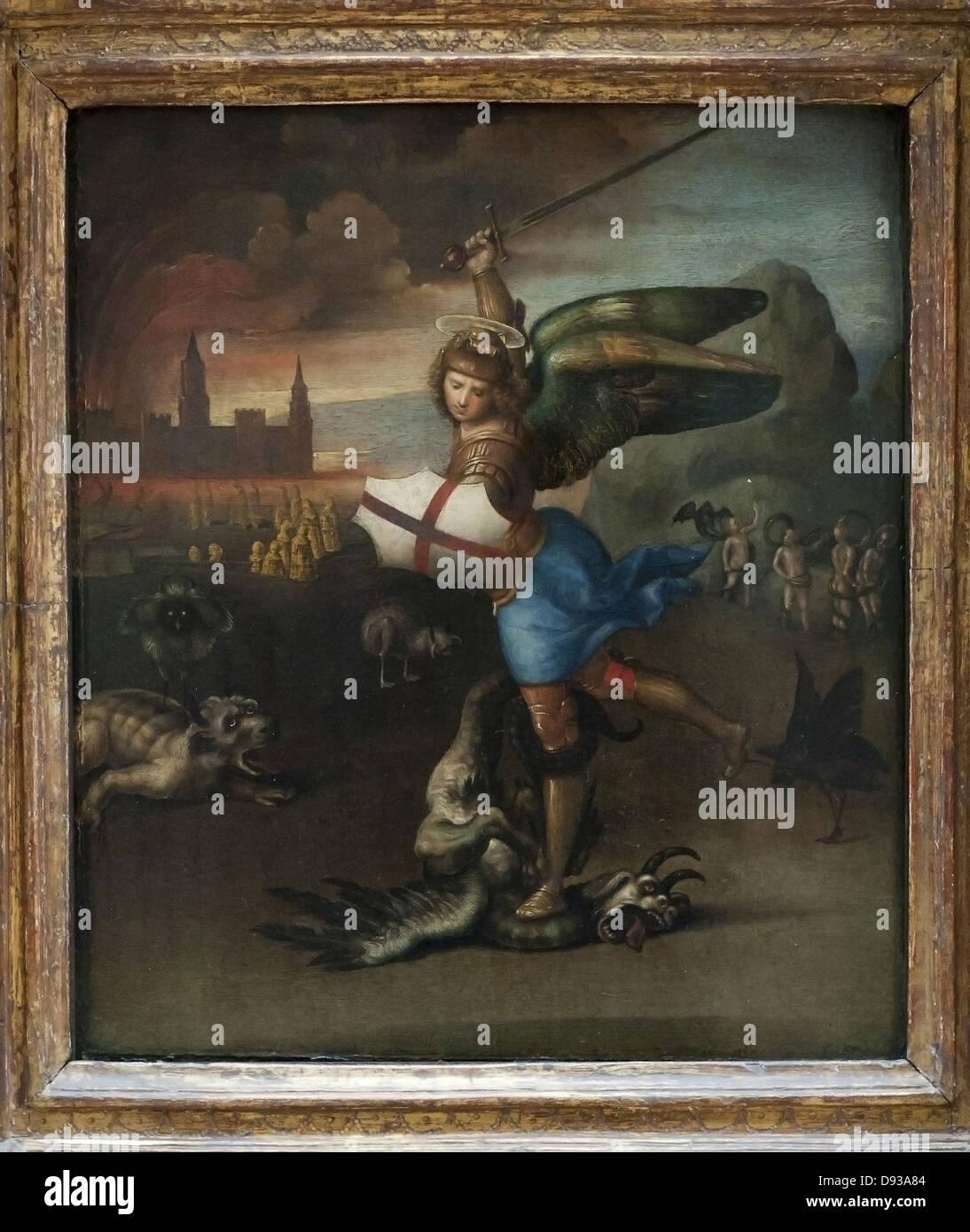 Raphaël Saint Michel Terrassant le Démon, Dit le Petit Saint-Michel-1520 Stockbild