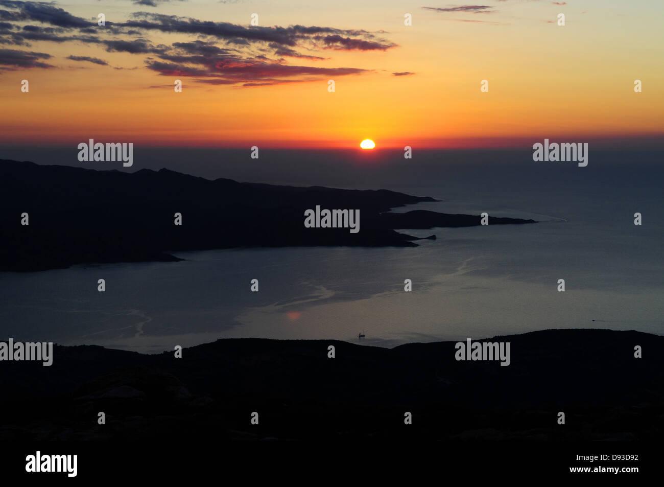Golfe de St-Florent, Ansicht von Serra di Pigno, Haute-Corse, Korsika, Frankreich Stockbild