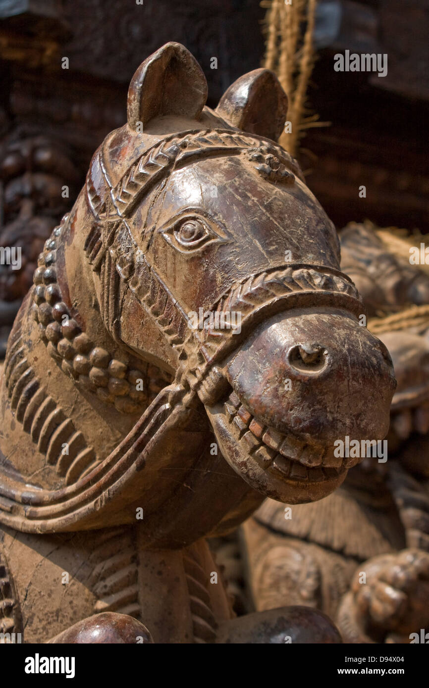 Asien, Indien, Karnataka, Udipi, Holzpferd Stockbild