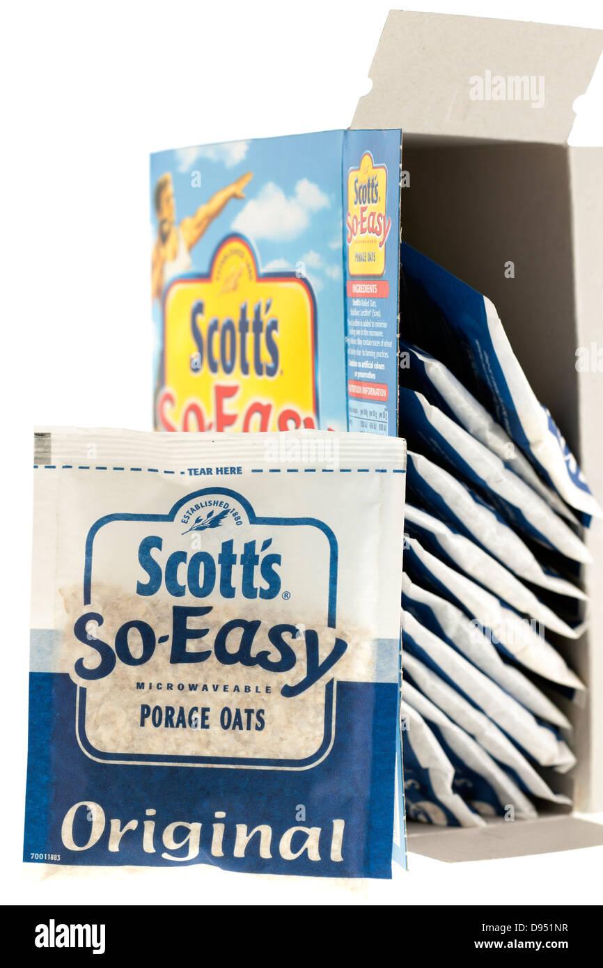 12 Beutel von Scotts SO einfach mikrowellengeeignet original Porage Hafer Stockbild