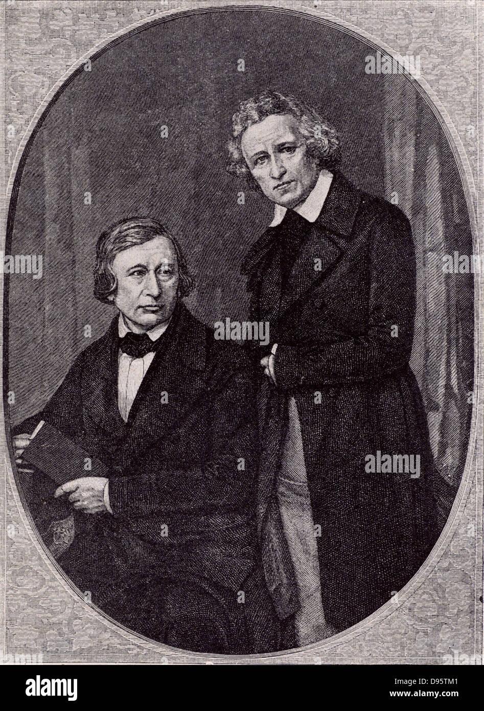 Wilhelm Carl Grimm (1786-1859) links und rechts Jacob Ludwig Carl Grimm (1786-1859), deutscher Sprachwissenschaftler Stockbild