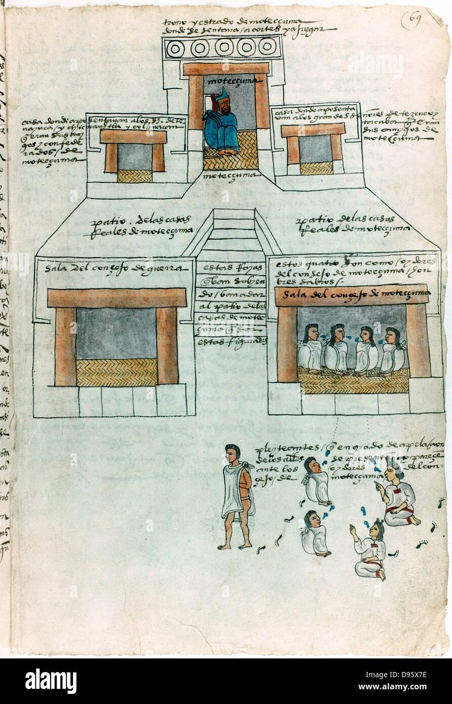 Montezuma II (1466-1620) letzte aztekische Kaiser in seinem Palast, Top. Richter, Zentrum, Prozessparteien, unten. Stockbild