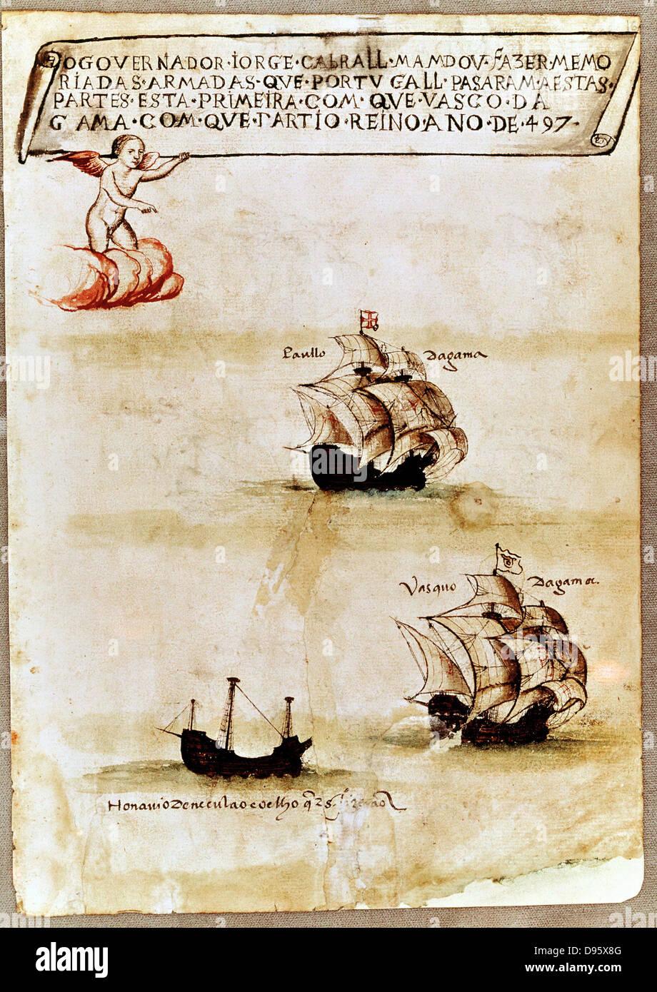Portugiesische Seefahrer Vasco da Gama (c1469-1525), erste Westler, Kap der guten Hoffnung nach Asien zu runden. Stockbild