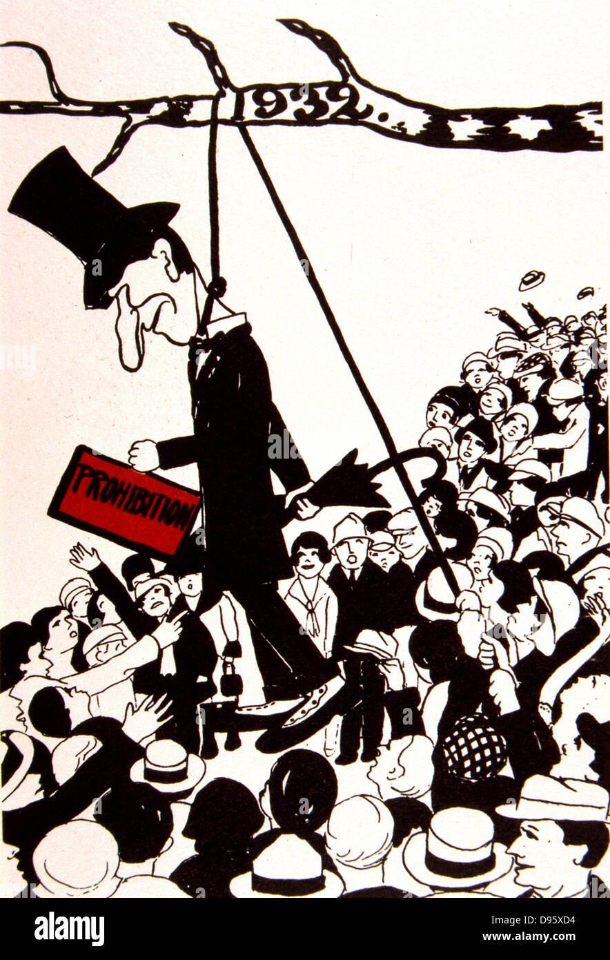 Karikatur gegen (Alkoholverbot). Ein Mob, ein Bildnis des Verbots von einem Baum hängen. 1932. Stockbild