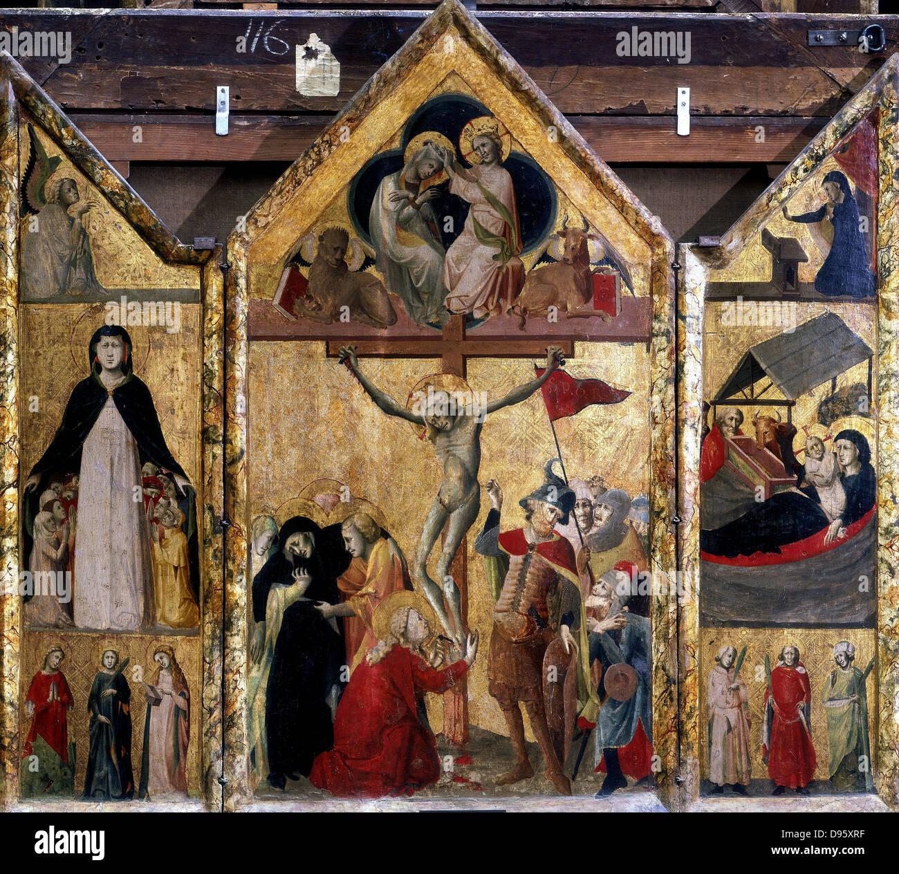 Triptychon mit Kreuzigung als Mitteltafel. Meister von Bologna, 15. Jahrhundert. Stockbild