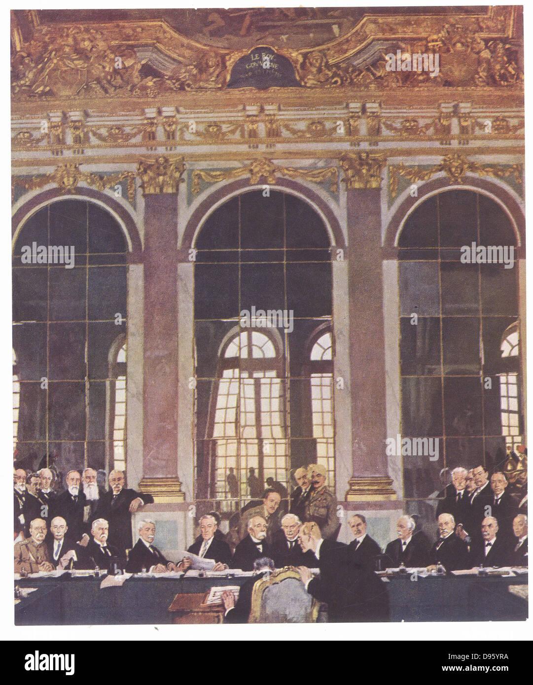 Erster Weltkrieg Unterzeichnen Vertrag Von Versailles In Die Hall