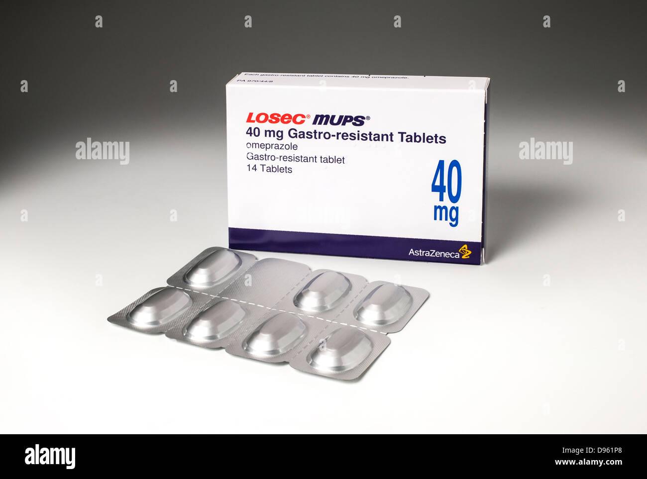 Losec Tabletten - Protonenpumpenhemmer Omeprazol Medikamente verlangsamt oder verhindert die Produktion von Magensäure Stockbild