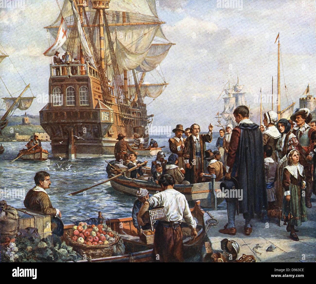 """Die Pilgerväter Internat der """"Mayflower"""" für ihre Reise nach Amerika.  Nach Gemälde von Stockbild"""