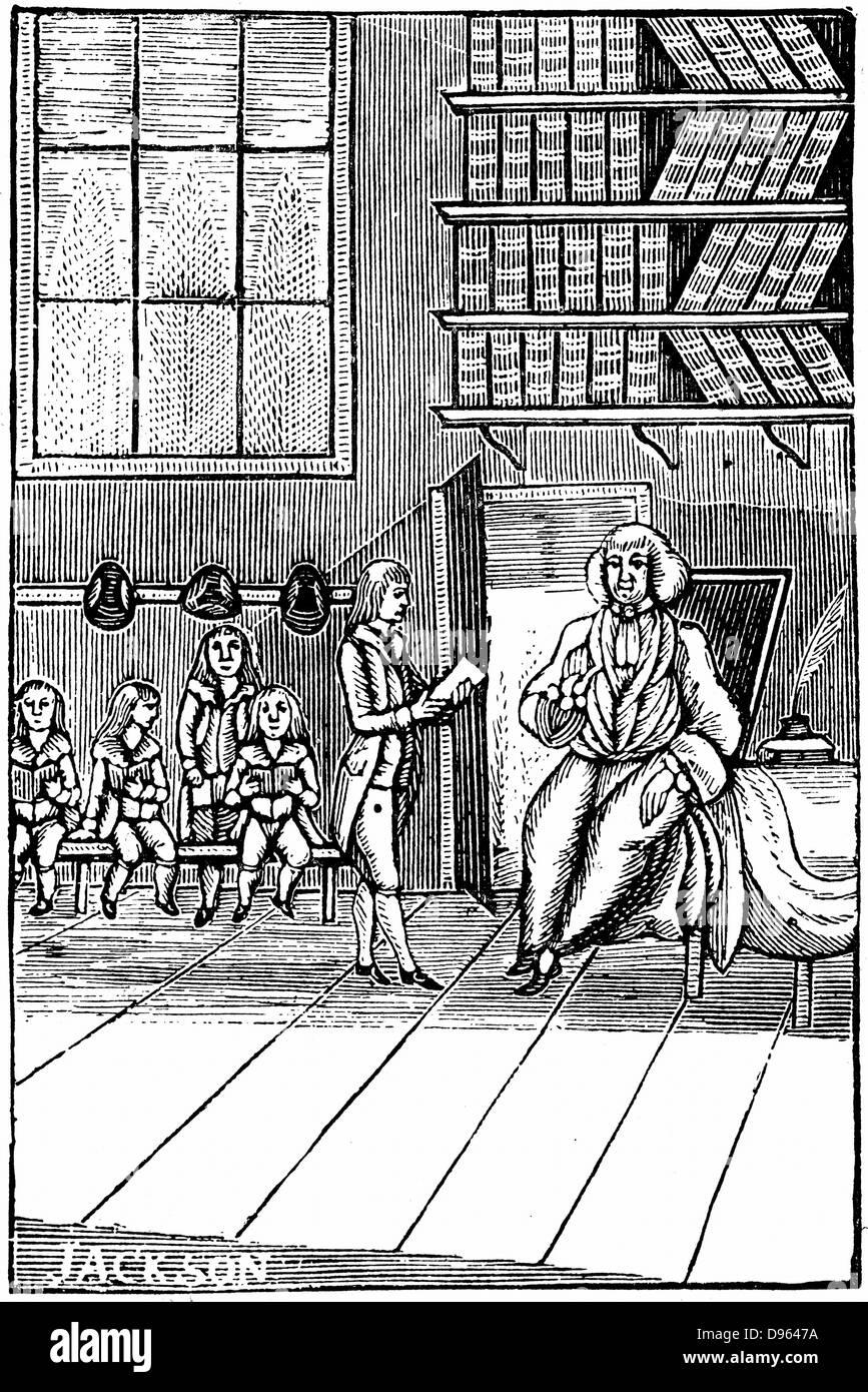 Schulmeister und seine Schüler. Holzschnitt aus dem 18. Jahrhundert Stockbild