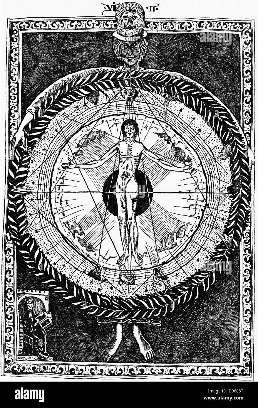Hildegard von Bingen (1098-1179) Deutsche Äbtissin und Mystic, unten links; nach oben an ihrer Vision vom Menschen, Stockfoto
