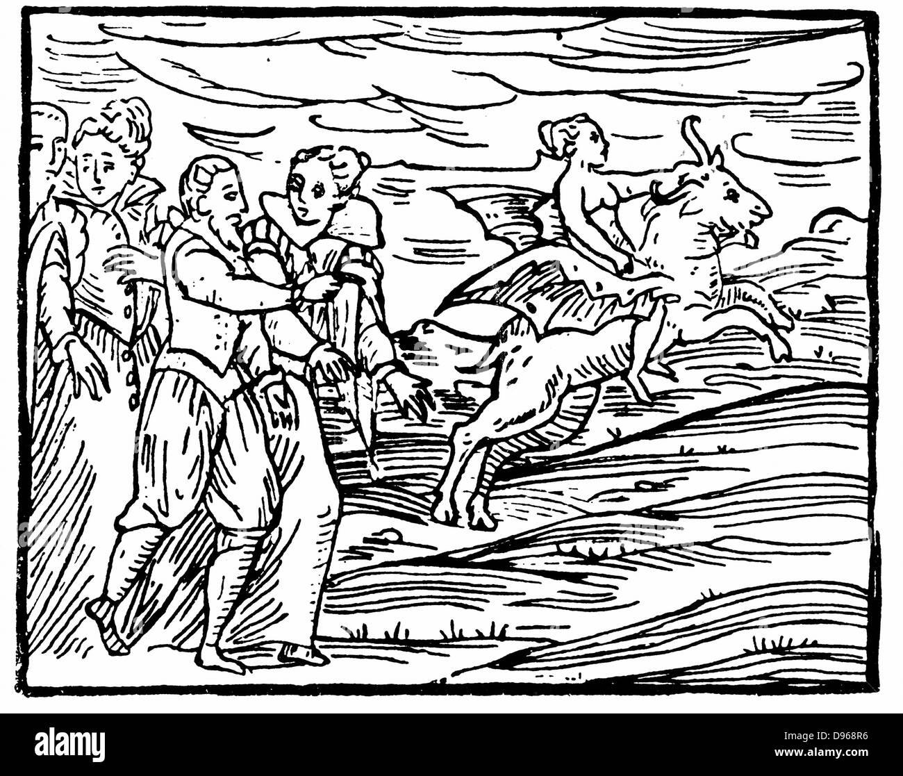 """Der Teufel, in Form einer fliegenden Ziege tragen eine Hexe zum Sabbat. Von Francesco Maria Guazzo """"Compendium Stockbild"""