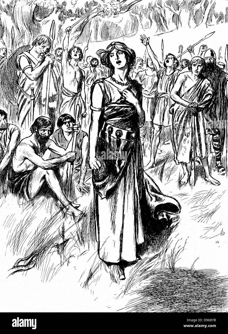 Boudicca (Boadicea) Lst Jahrhundert britische Königin der Icener, sammeln ihre Truppen. Schließlich überwältigt Stockbild