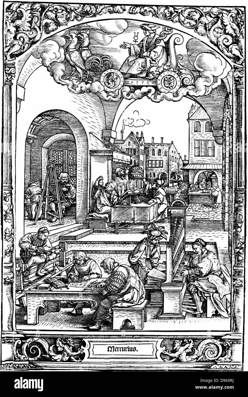 Quecksilber: Reihe von Drucke, ausgeführt im Jahre 1531 von Hans Sebold Beham (1500-50), illustrieren die Planeten. Stockbild