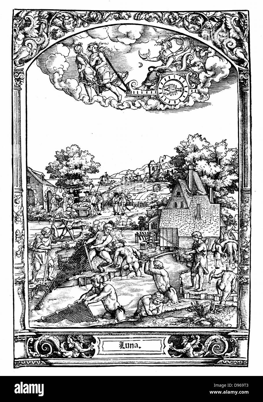 Luna: aus Serie von 1531 von Hans Sebold Beham (1500-50) ausgeführt. Weibliche Planeten, feucht und kalt. Die Stockbild