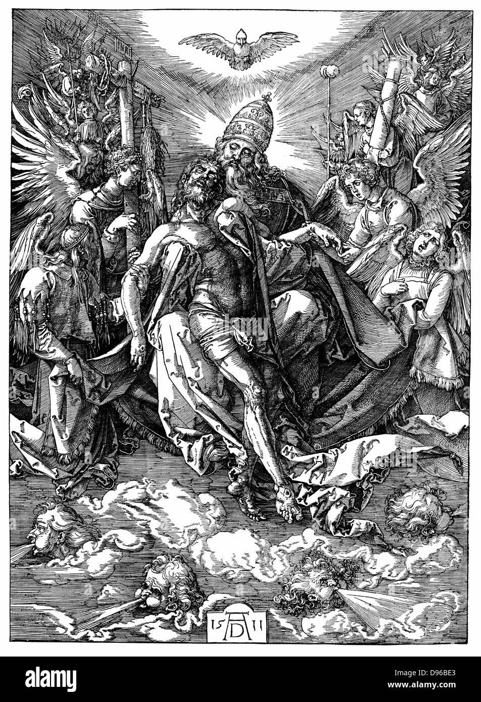 Die Dreifaltigkeit (zum Thron der Gnade). Holzschnitt von Albrecht Dürer, 1511. Stockbild