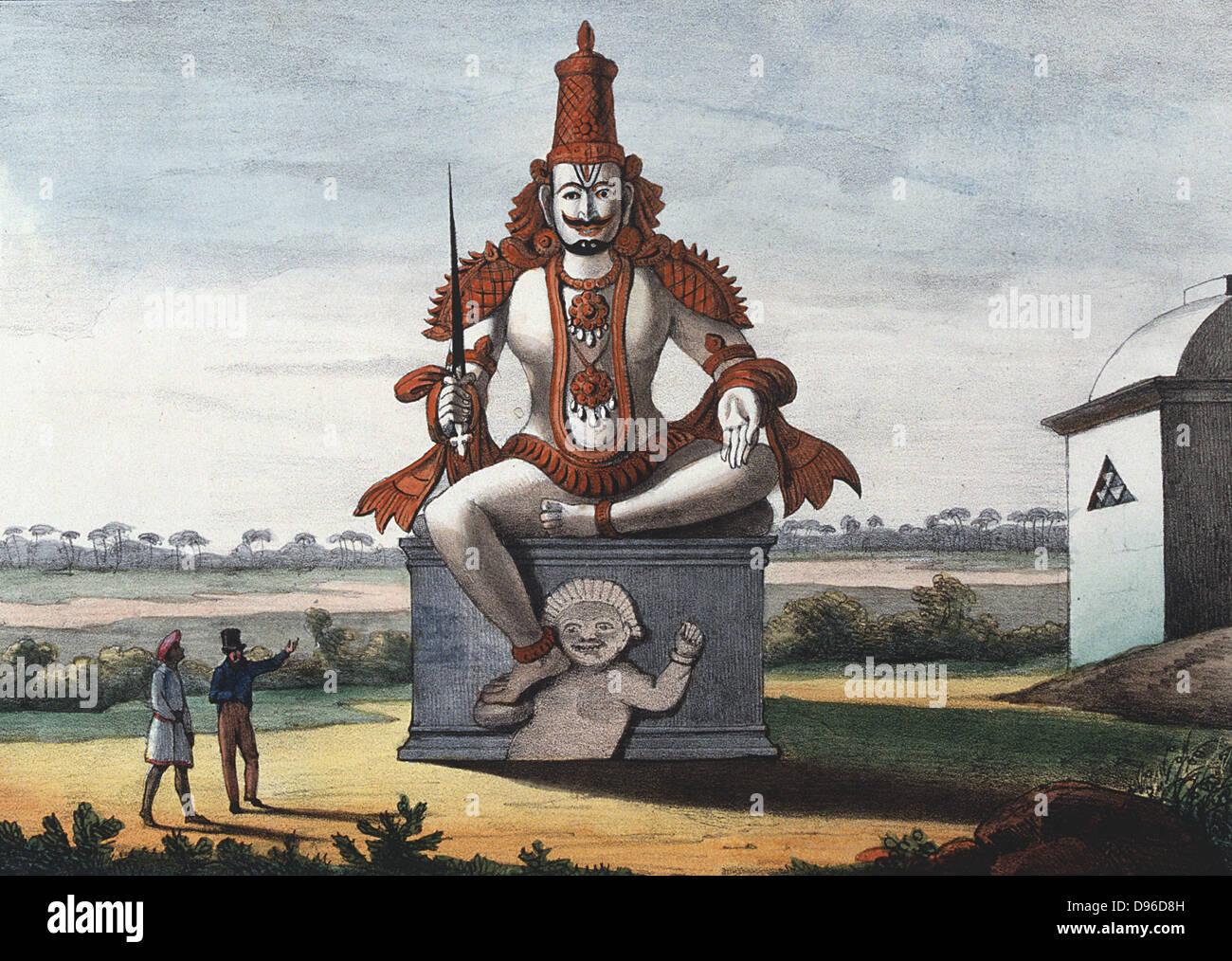 """Statue von einem Hindu bösen Dschinn. Farbige Lithographie von """"L'Inde Francaise"""", 1828 Stockbild"""