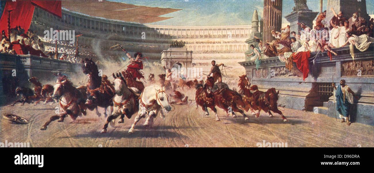 Wagenrennen im Alten Rom, aus dem späten 19. Jahrhundert Abbildung. Brot und Spiele wurden zwei Methoden, die verwendet Stockfoto