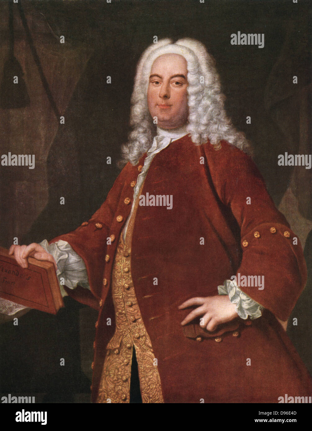 Händel (1685-1759) deutsch-englische Komponist in Halle geboren. Nach dem Porträt von Thomas Hudson. Stockbild