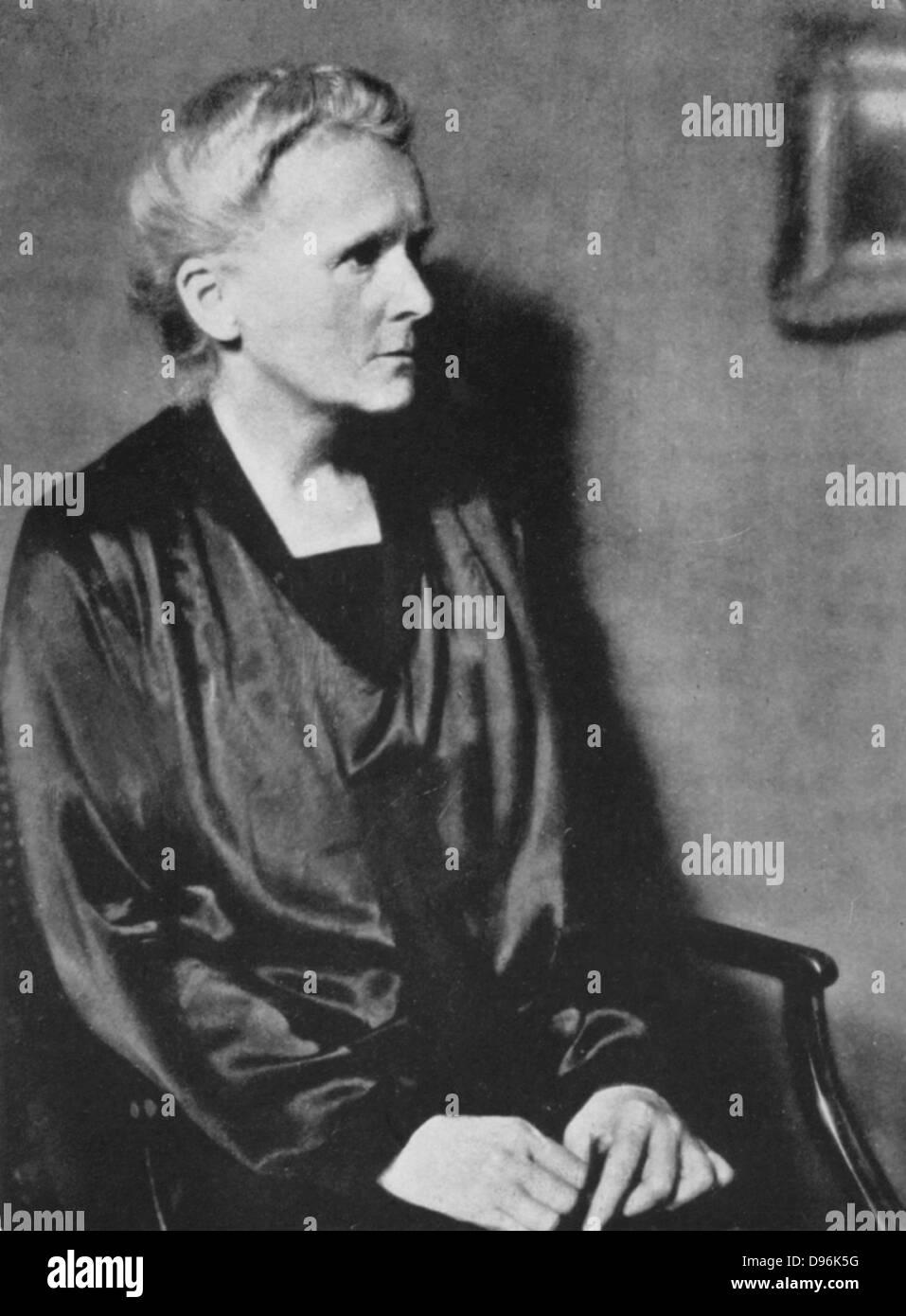 Marie Curie (1867-1934) Polen geborenen französischen Physiker im Jahr 1929. Stockfoto