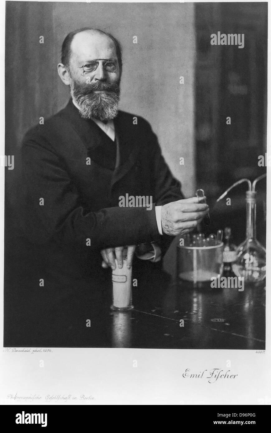 Deutscher Chemiker Emil Fischer (1852-1919): Nobelpreis für Chemie 1904. Stockbild