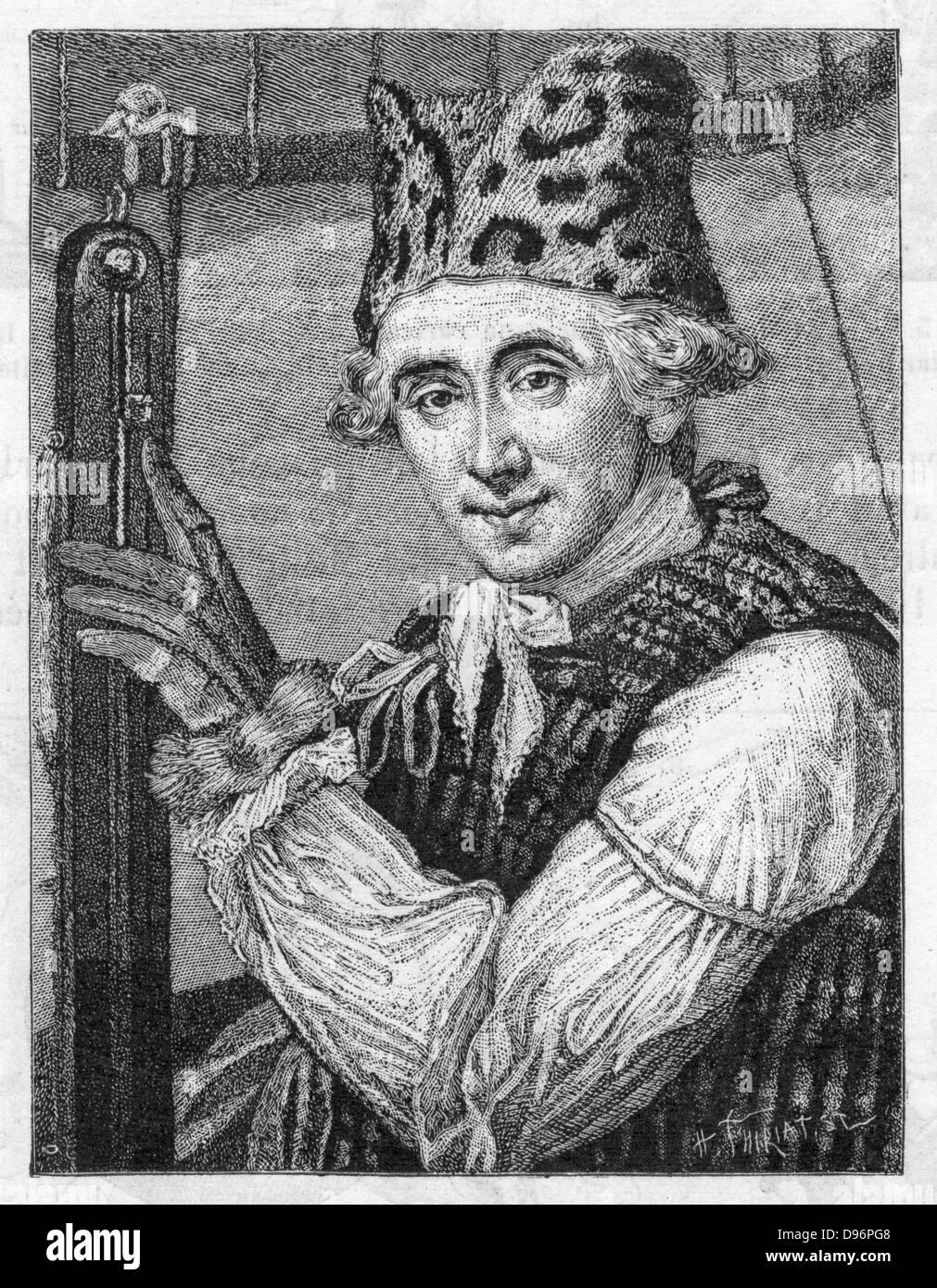 Dr. John Jeffries (1744-1819) amerikanischer Ballonfahrer während ein Ballon aufstieg der atmosphärischen Temperatur zu untersuchen, 7. Januar 1785. (London, 1786). Gravur. Stockfoto