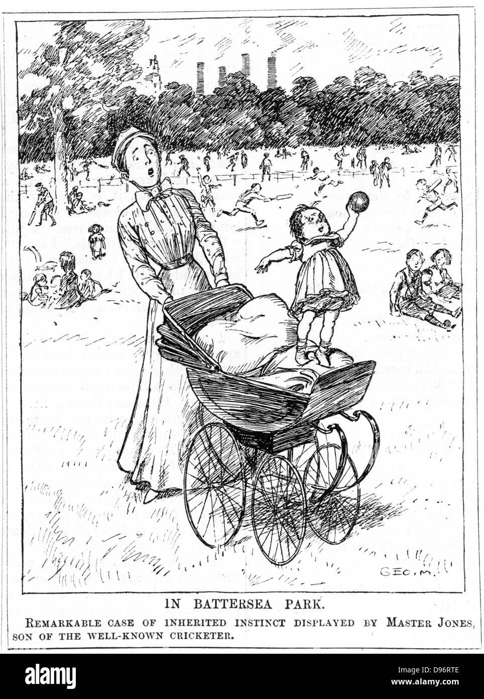 """Ein Beispiel des Darwinismus im alltäglichen Leben. Cartoon aus """"Punch"""", London, 28. Juni 1911. Stockbild"""