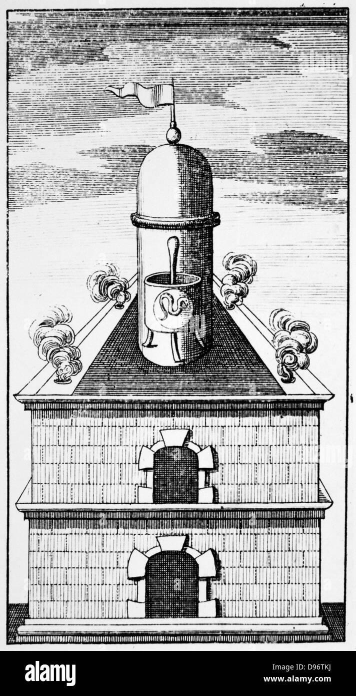 Das hermetische Gefäß, c1760. Hermetische Gefäß im alchemistischen Schmelzofen. Die Schlange Stockbild
