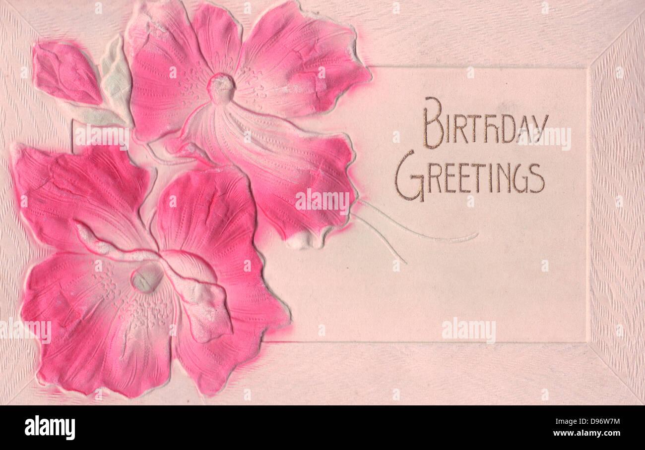 Geburtstagsgrusse Vintage Karte Mit Blumen Stockfoto Bild