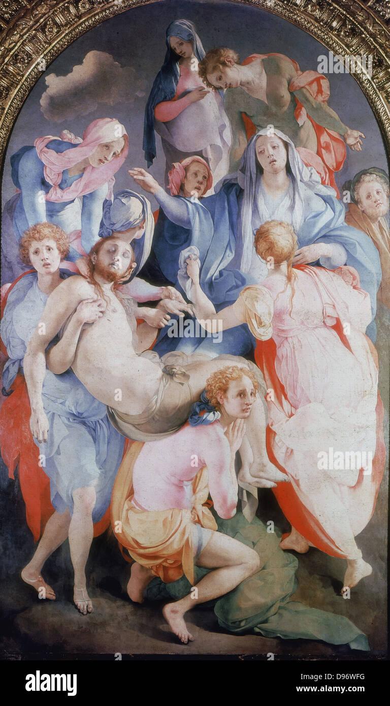 Die der Kreuzabnahme 1528: Jacobo Carruci Pontormo (1494-1556) italienische manieristische Maler. Stockbild