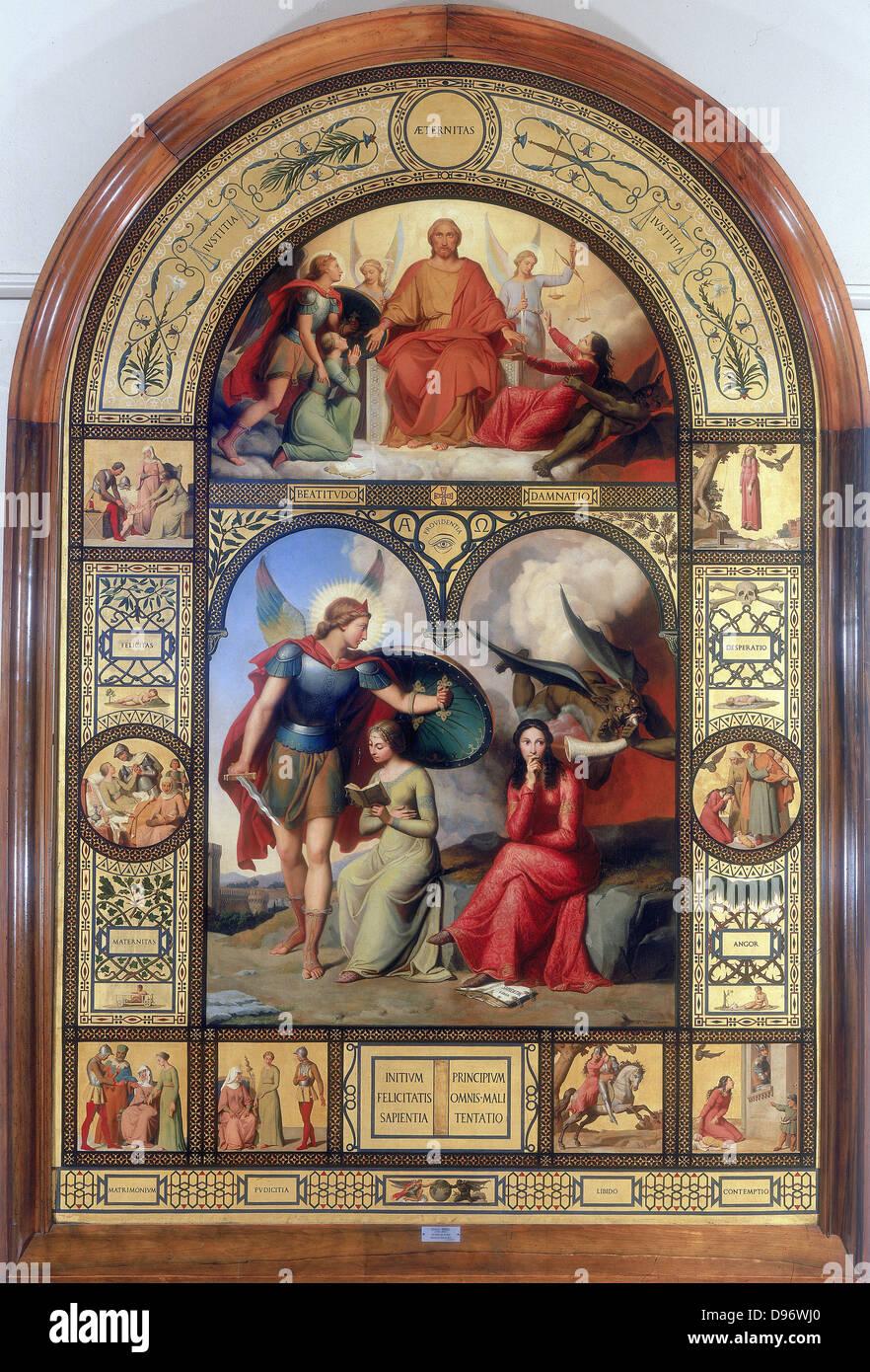 """Gut und böse """". Französischer Maler André Jacques Victor ORSEL (1795-1850). Stockbild"""