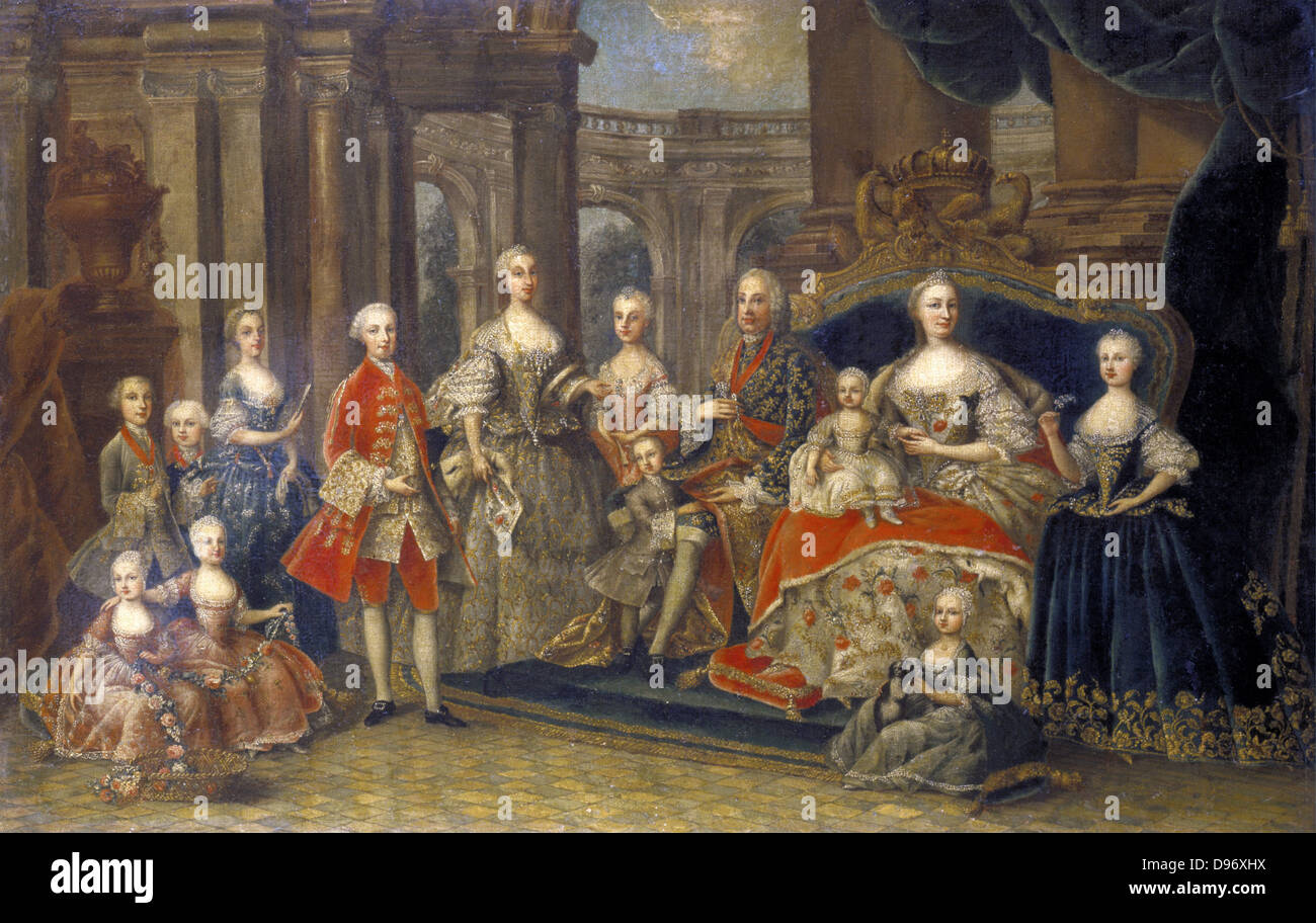 """Österreichische Königsfamilie """": Heilige römische Kaiserin Maria Teresa  (1717-1780), Erzherzogin von Österreich, Königin von Ungarn und Böhmen mit"""