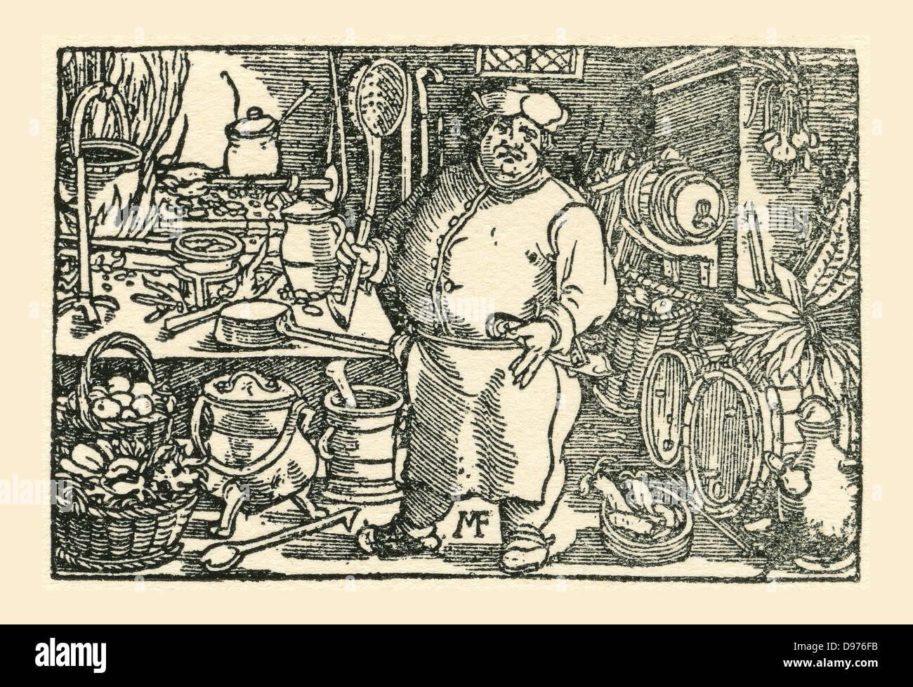 Ein Koch aus der Tudor-Zeit in England. Aus einer zeitgenössischen drucken. Stockbild