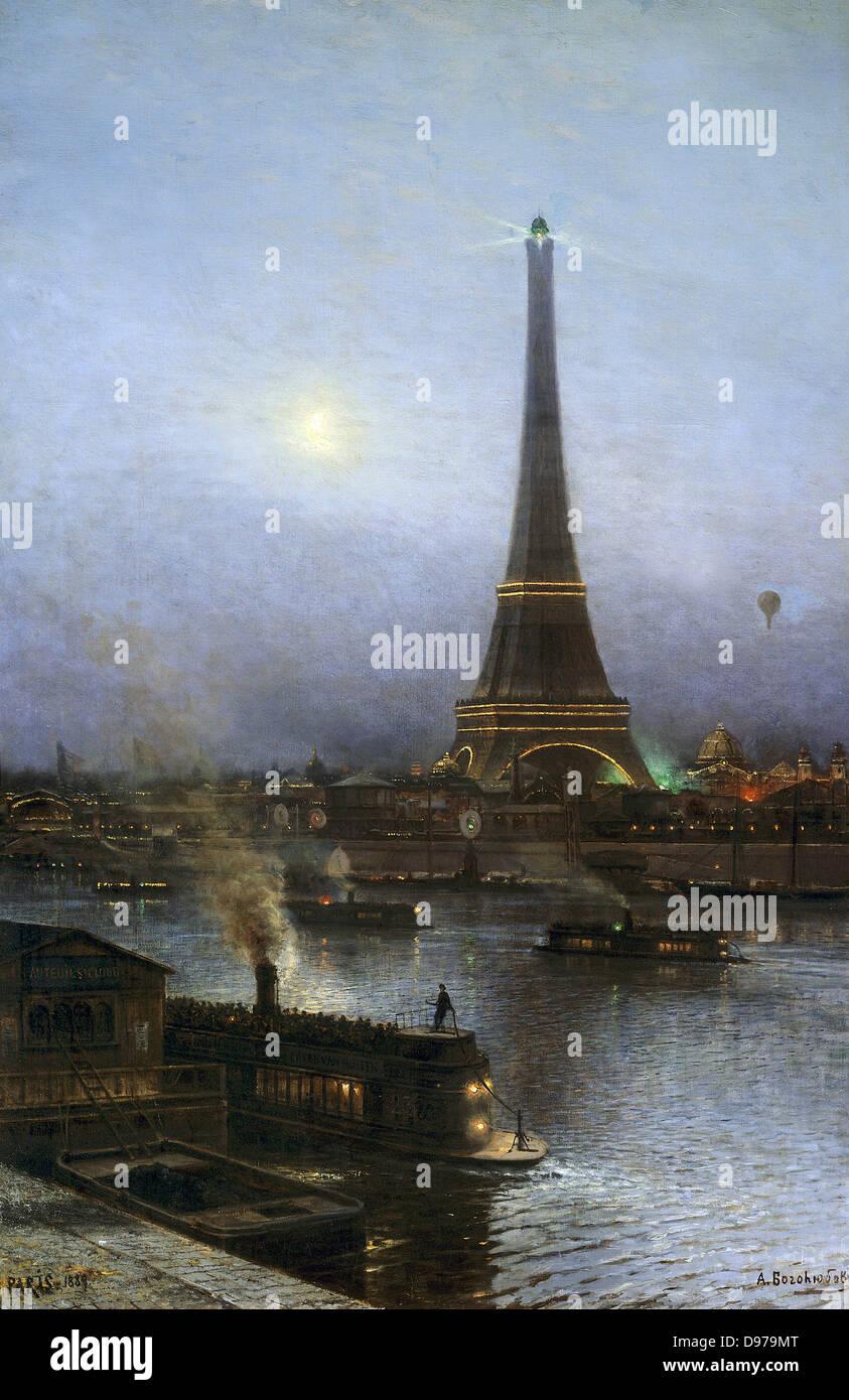 Alexei Bogoliouboff Petrowitsch The Eiffel Tower von Nacht 1889 Carnavalet-Museum - Paris Stockbild