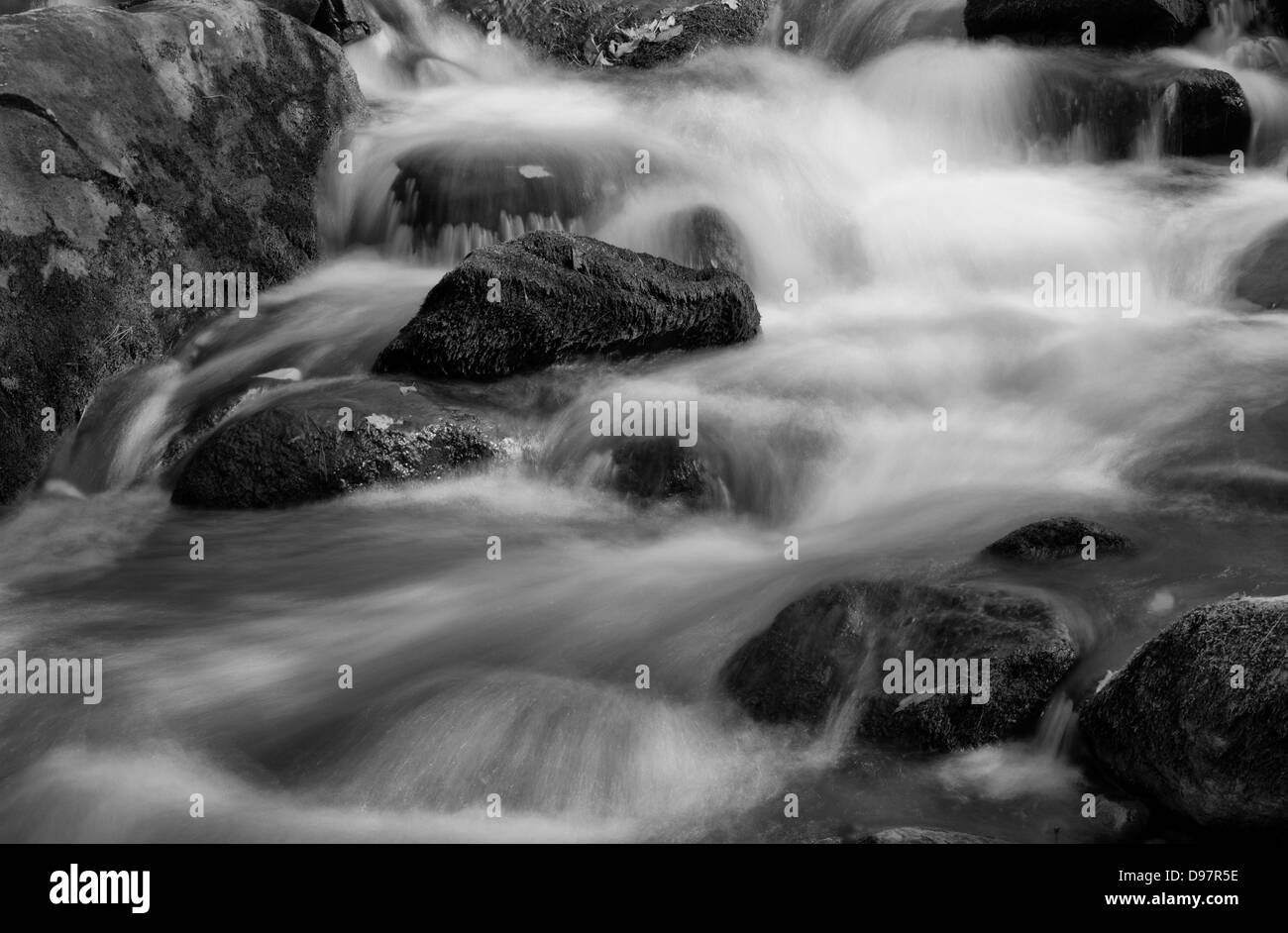 Die Felsen und Wasser-Strömung entlang Tremont Creek in den Great Smoky Mountains National Park, Tennessee Stockbild