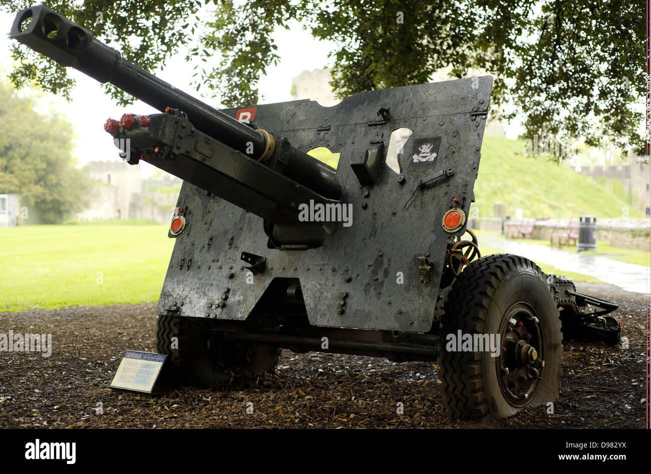 Kanone im Schloss von Cardiff, Wales, Großbritannien Stockbild