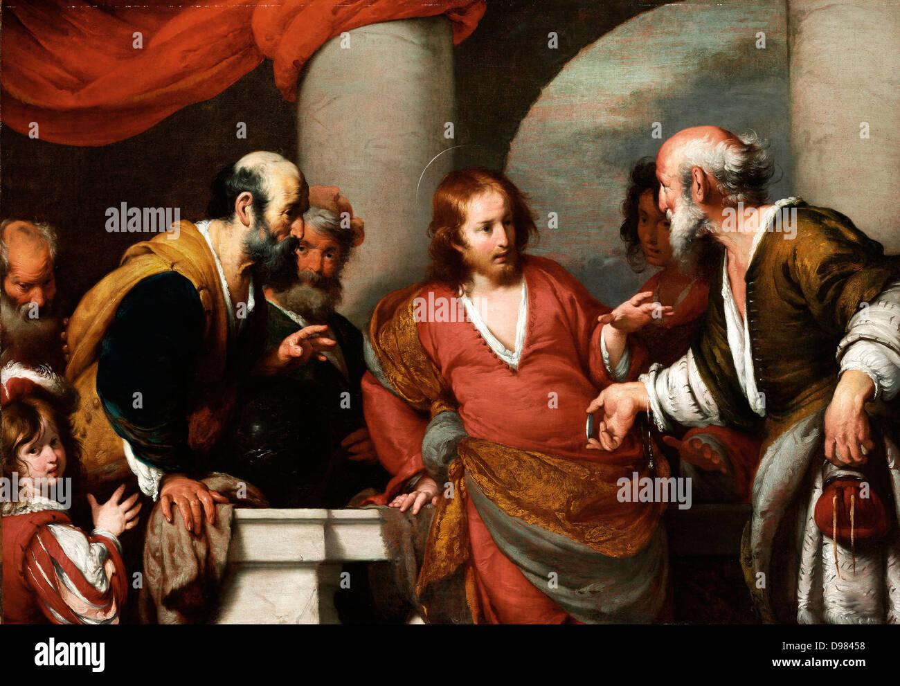 Bernardo Strozzi, die Tribut-Geld. 1630er Jahren Öl auf Leinwand. Museum of Fine Arts, Budapest. Stockbild
