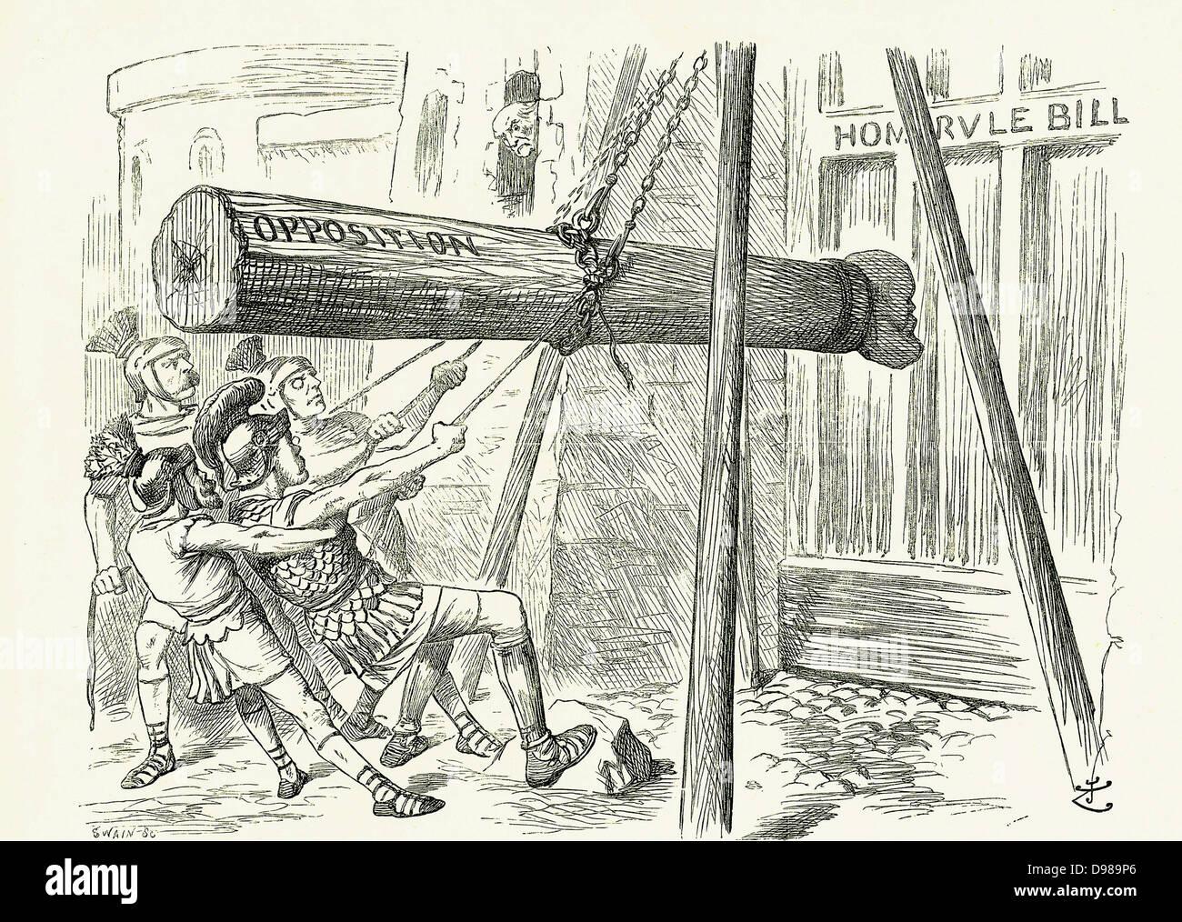 """Der Angriff """": Gladstones Liberal Selbstverwaltung-Rechnung unter Beschuss von der konservativen Opposition Stockbild"""