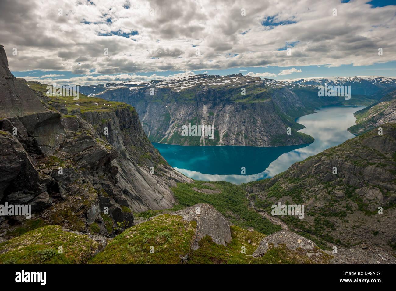Blick auf den See Ringedalsvatnet, Norwegen Stockbild
