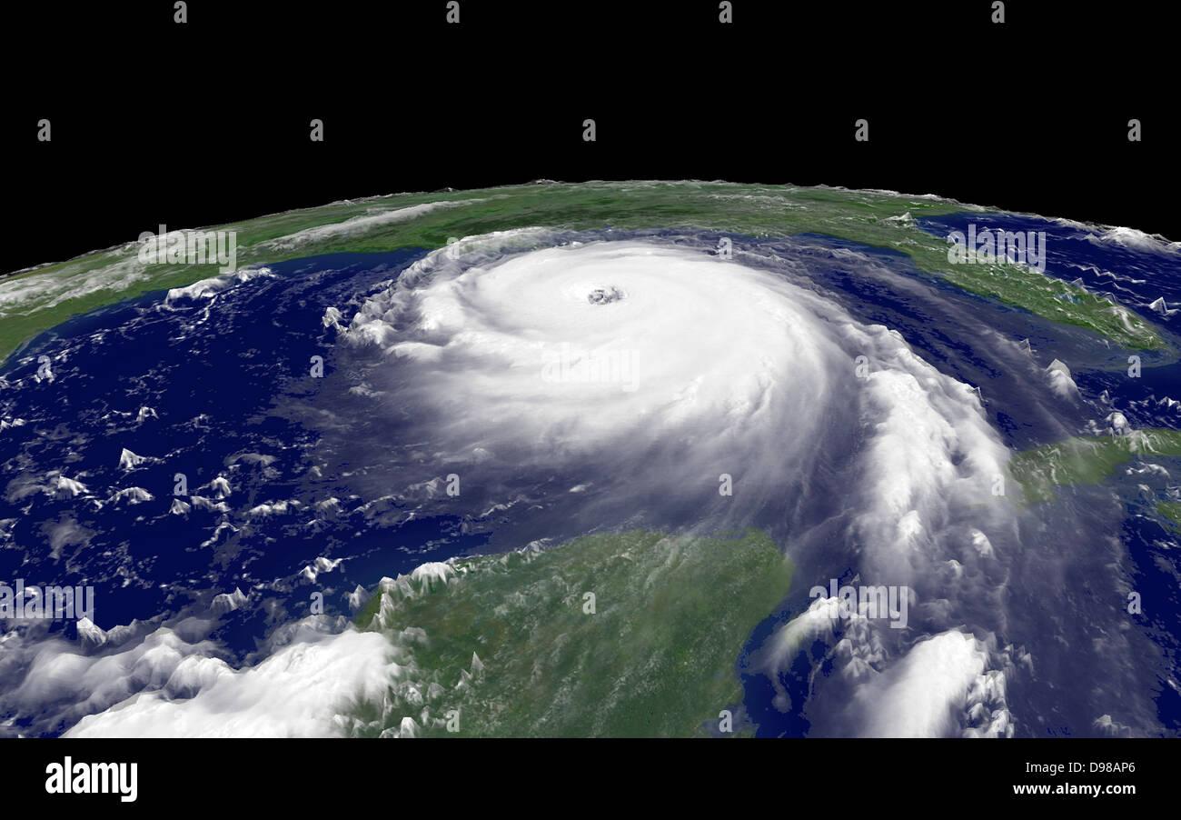 Hurrikan Katrina 2005, war der teuerste Naturkatastrophe, sowie eines der fünf tödlichsten Hurrikane in Stockbild