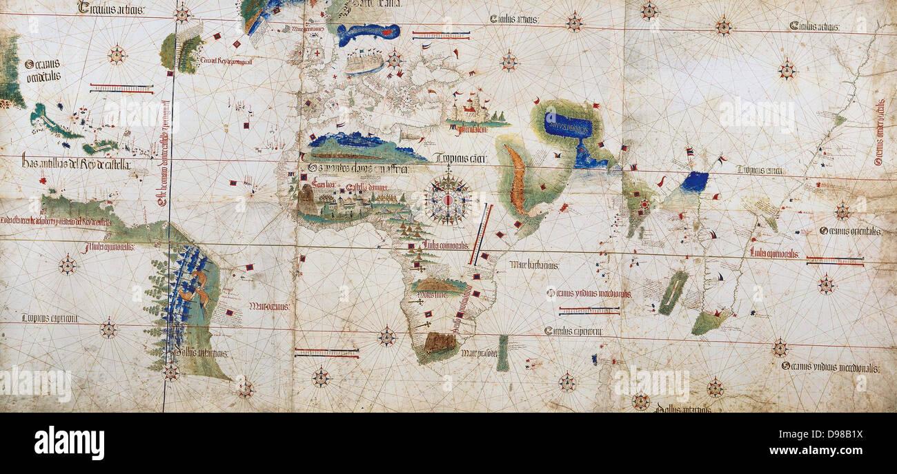 Weltkarte der 1502 zeigt den afrikanischen Kontinent in der Mitte. Benannt nach Alberto Cantino, italienischen diplomatischen Stockbild