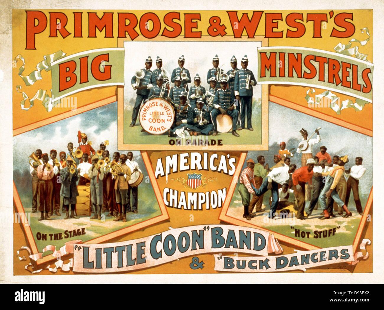 Ende des 19. Jahrhunderts Theater oder Konzertsaal Plakat (amerik.) Primrose & West Bigband Spielleute Darstellung. Stockbild