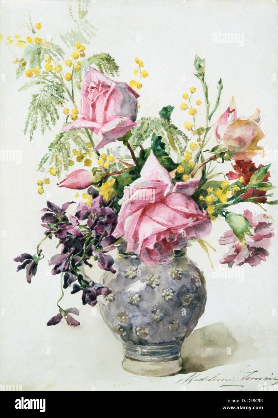 eine vase mit blumen aquarell stockfotos eine vase mit. Black Bedroom Furniture Sets. Home Design Ideas