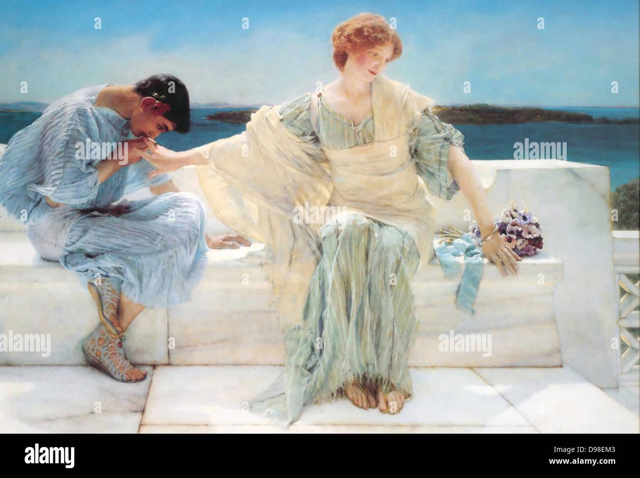 Ein Gemälde von Pyramus und Thisbe berechtigt fragen mich No More (1906) von Sir Lawrence Tadema (1836-1912). Stockbild