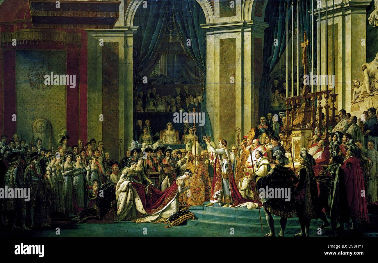 """""""Die Krönung von Napoleon"""" Gemälde von Jacques-Louis David, der offiziellen Maler von Napoleon Stockbild"""
