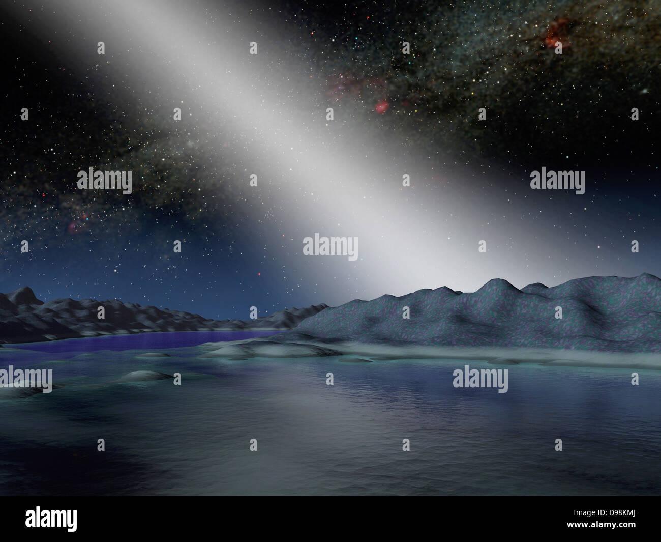 Künstlers Konzept was der Nachthimmel von einem hypothetischen Außerirdischen Planeten in einem Sterne Stockbild