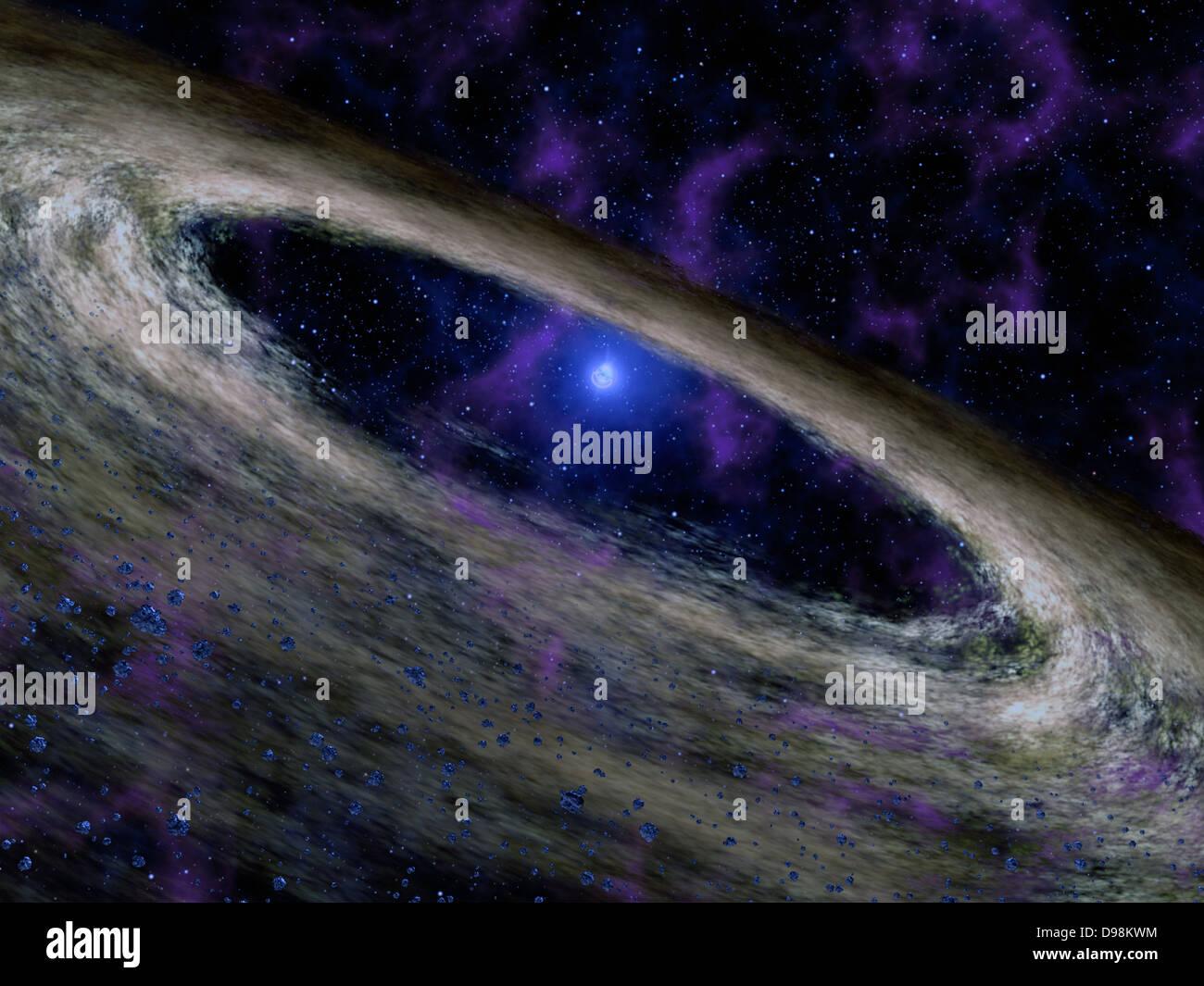 Konzept des Künstlers zeigt eine Art von toten Stern namens eines Pulsars und die umgebenden Scheibe der Schutt Stockbild