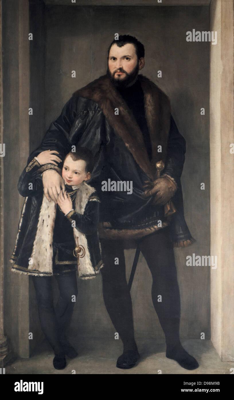 """Der Graf von Pinto """", Paolo Veronese (1528-1588) italienischen Renaissance-Maler. Mann trägt Schwert, Stockbild"""