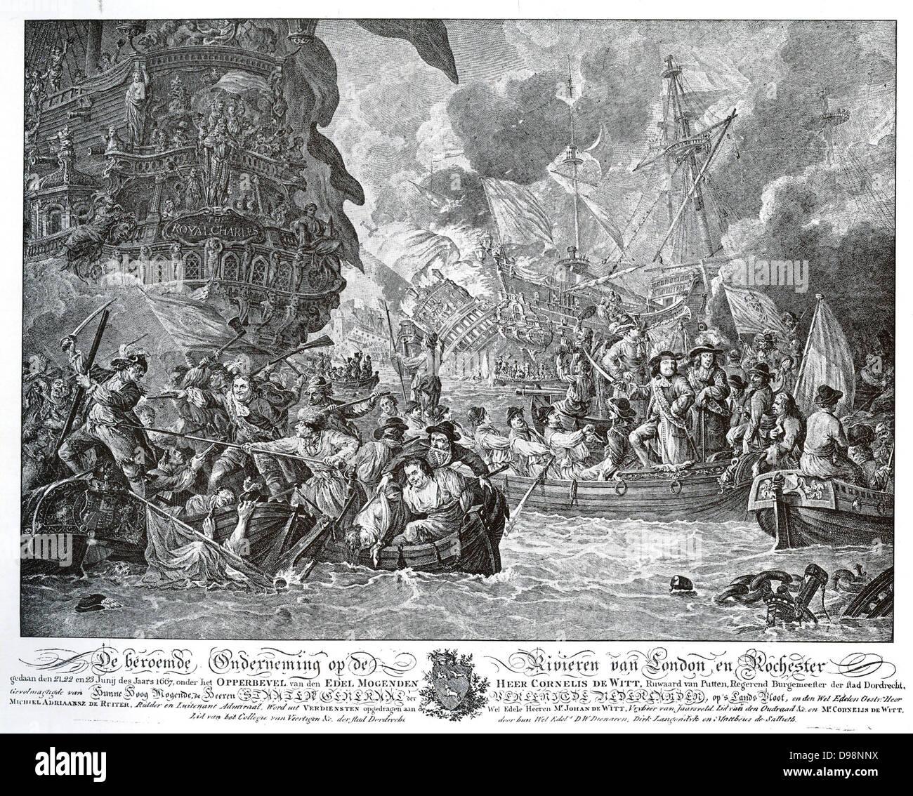 Sicherlich ist eines der berüchtigtsten Ereignisse im zweiten englischen Krieg De Ruyter Expedition nach Chatham. Stockbild