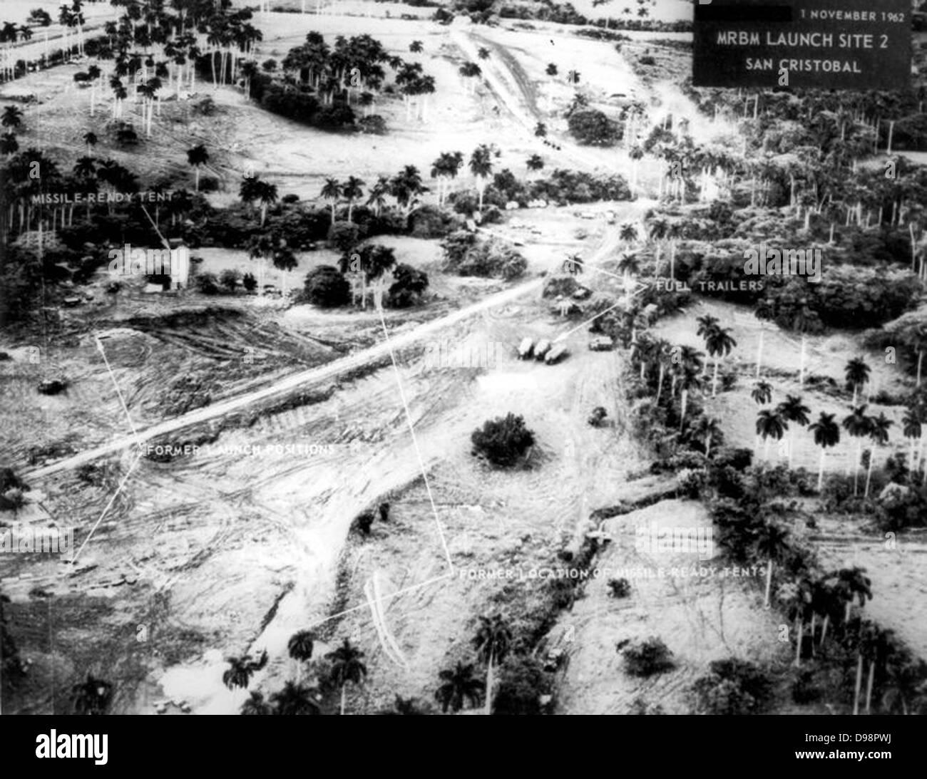 Kalter Krieg: Kubanische Flugkrise. Luftaufnahme der russische ballistische Mittelstreckenrakete Startplatz 2, San Stockbild